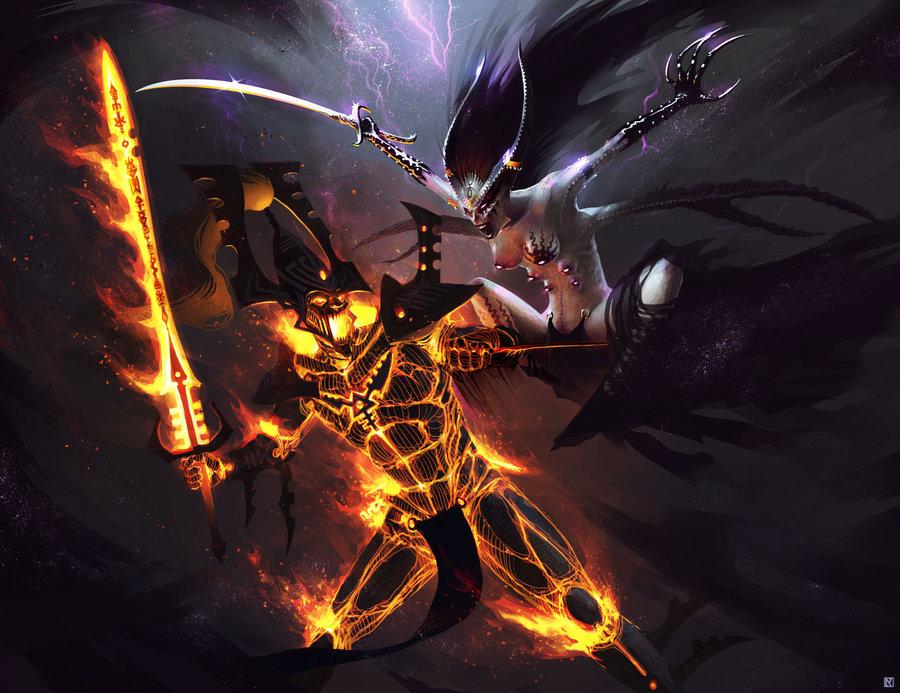 eldar_avatar_of_khaine_vs_keeper_of_secrets_by_klausmasterflex-d4yj41l