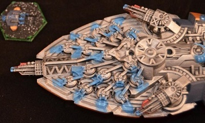 The Array of Plasma turrets underneath the Dreadnought.