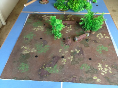 Now we start placing terrain around the markers.