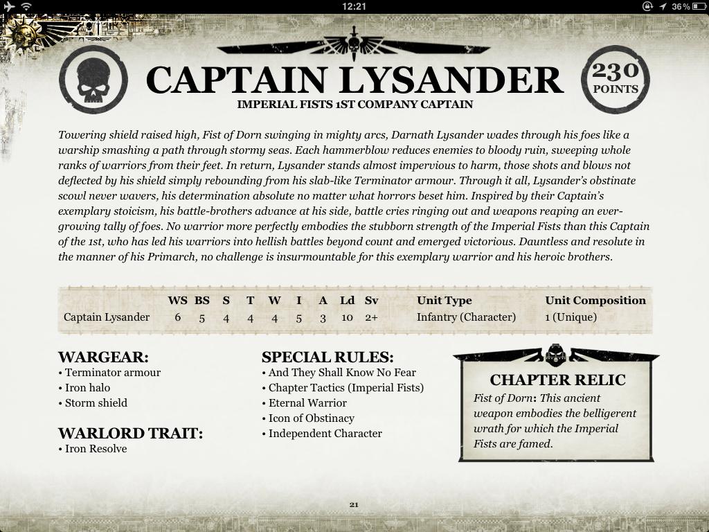Lysander Stats 2015
