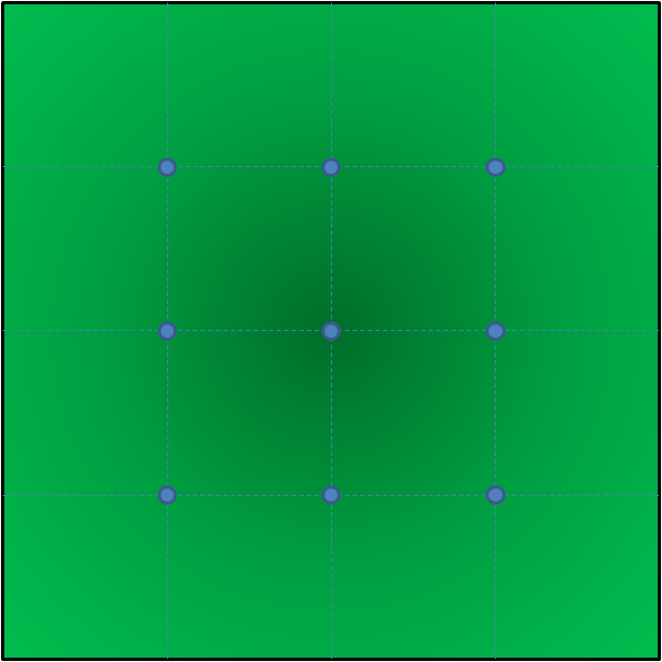 The blue dots are the objective markers.