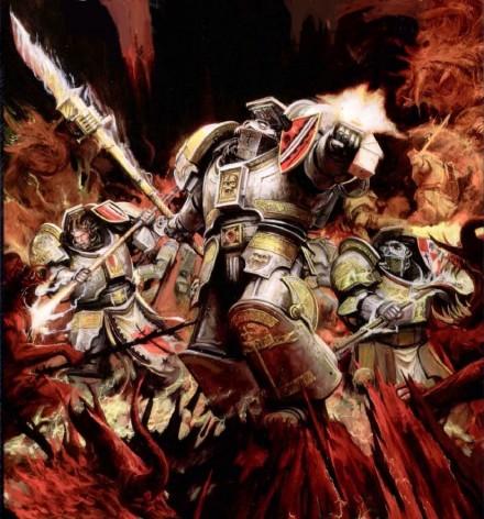 Grey Knights fighting daemons walpaper