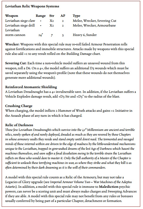 Leviathan Relic Weapon Rules