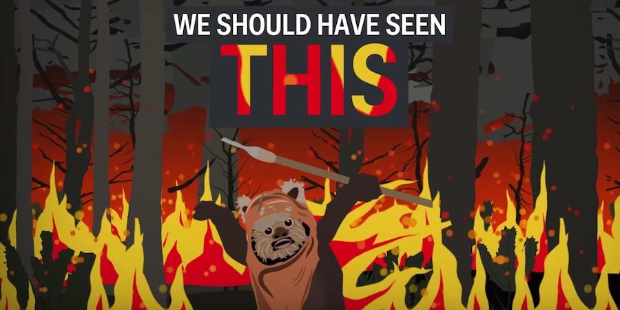ewok on fire