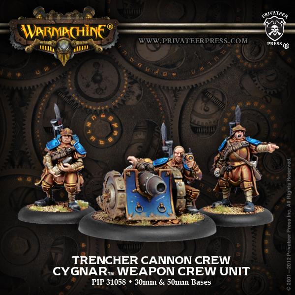 Warmachine Trencher Cannon Crew Cygnar