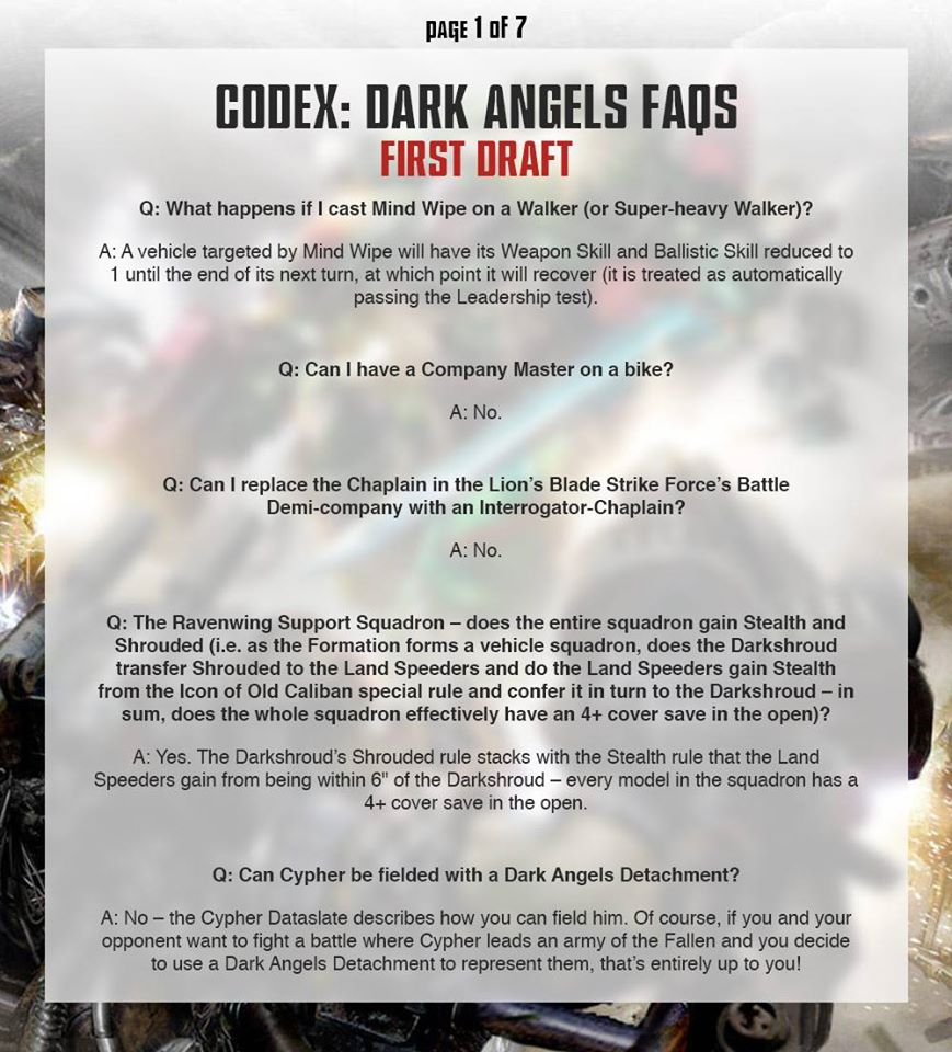 BREAKING: New 40K Dark Angels FAQ! - Bell of Lost Souls