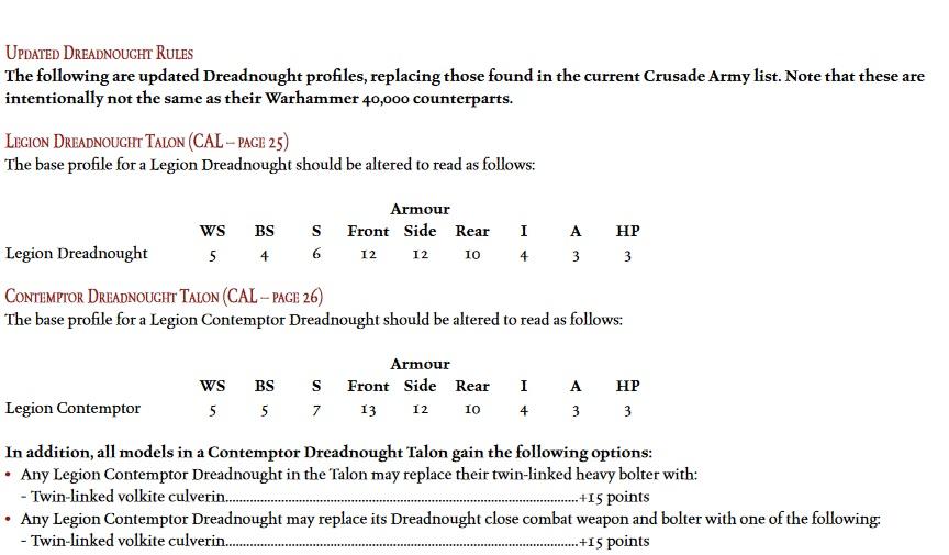 HH Legion Dreadnought Rules