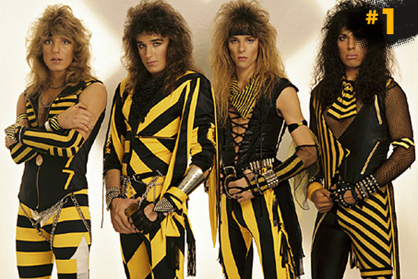With out a doubt the worst dressed band ever! It's 80's christian metal band Stryper. It's Bananas In Pyjamas meets black metal. Stare at the diagonal stripes and feel the dizziness. (Getty Images)