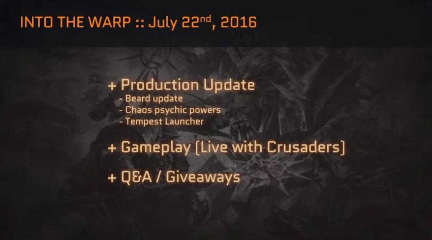 Into the Warp 72 Schedule