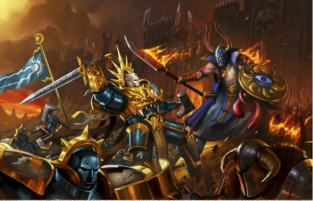warhammer ageof sigmar artwork all gates stormcast vs tzeentch