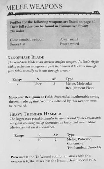 Death Watch Weapons 1