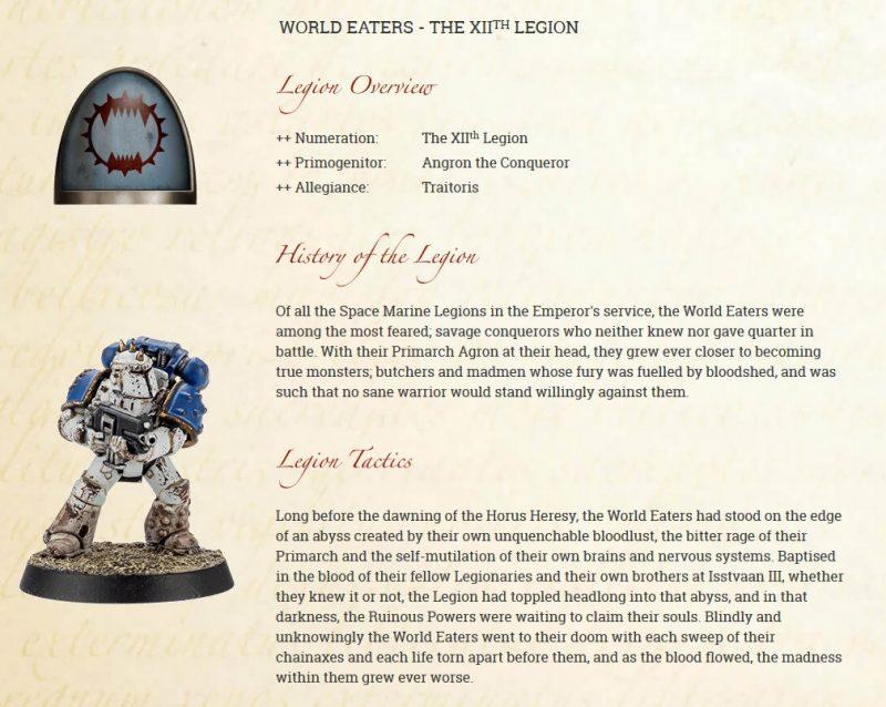 World Eaters Legion info
