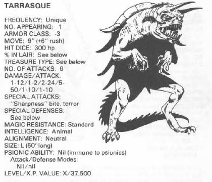 tarrasque 1st edition dungeons dragons