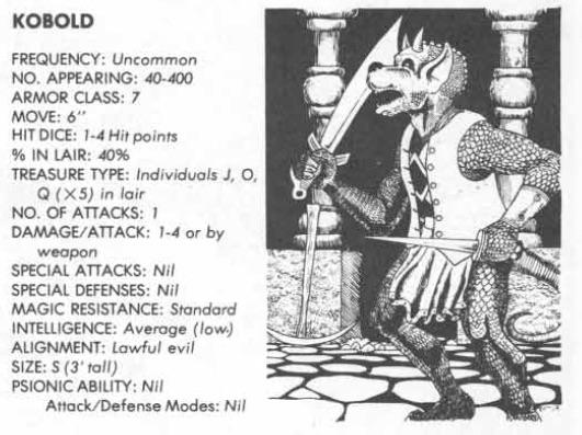 1st edition kobold dungeons dragons