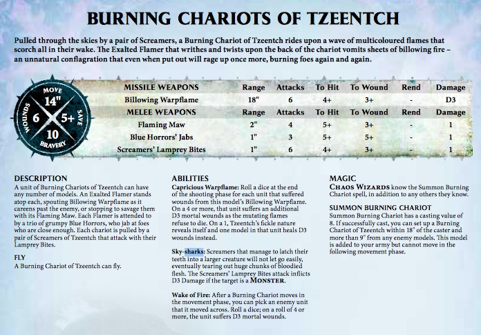 Burning Chariot of Tzeentch Rules