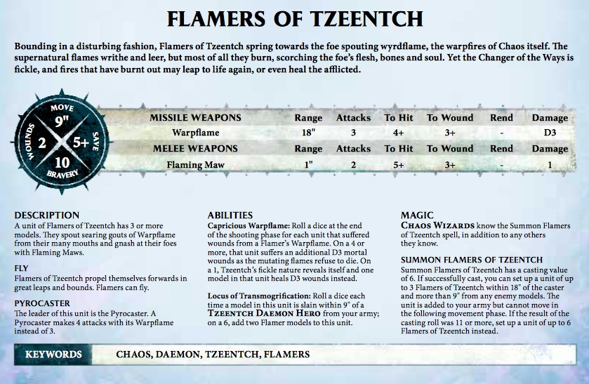 Flamer of Tzeentch Rules