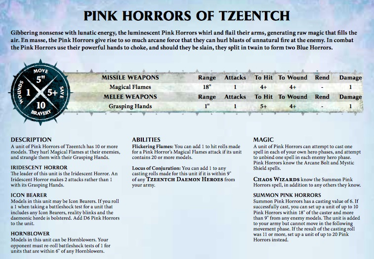 Pink Horrors of Tzeentch Rules