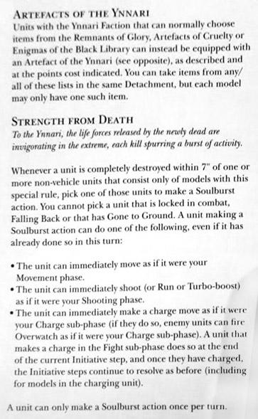 Ynnari Army Rules