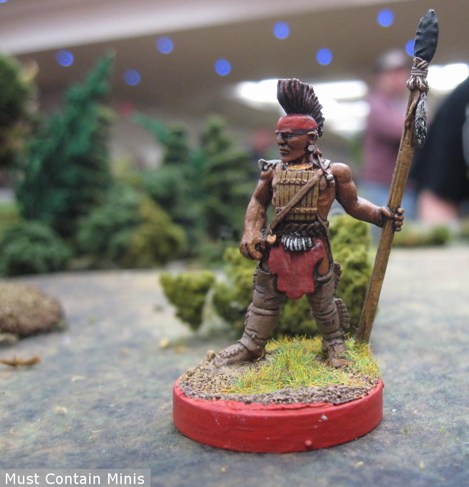 A Huron Warrior Miniature by Crucible Crush