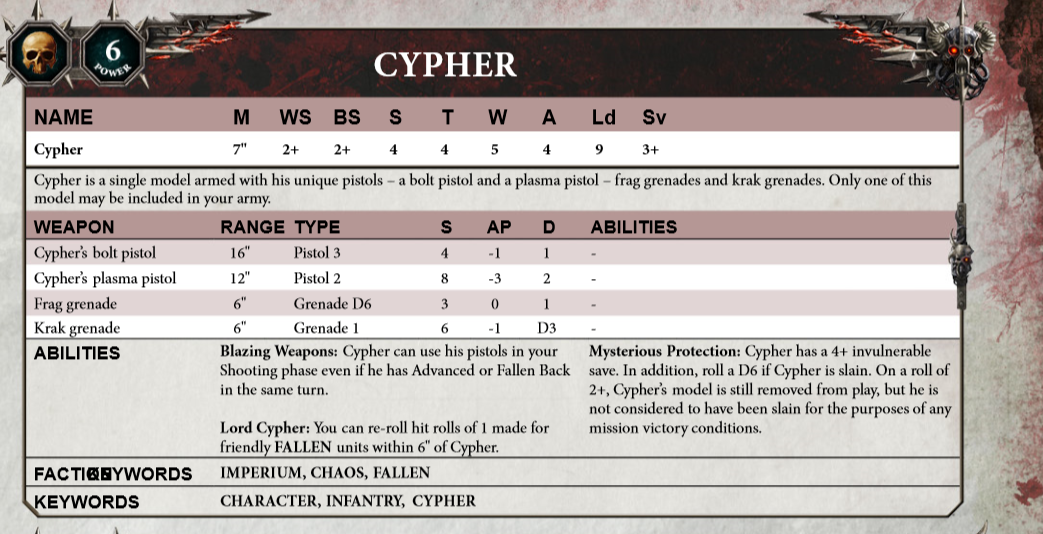 Cypher 40k Rules 8th Edition
