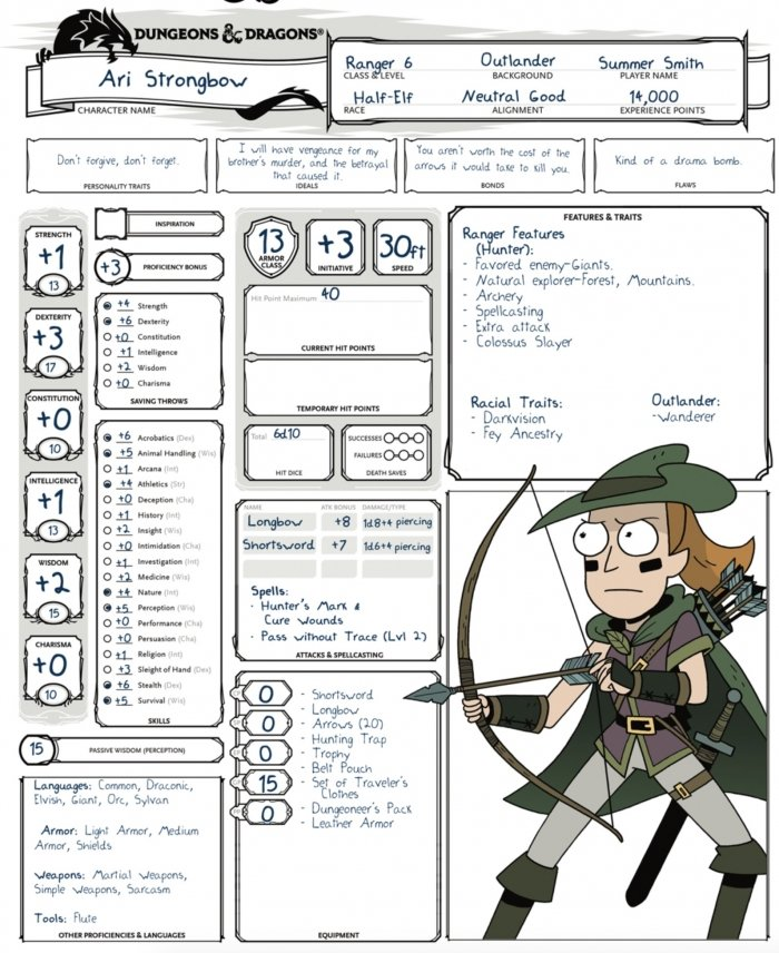 D&D: Rick & Morty's Character Sheets - Bell of Lost Souls