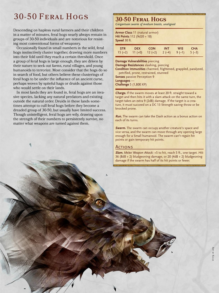 D&D Monster Spotlight: 30-50 Feral Hogs - Bell of Lost Souls