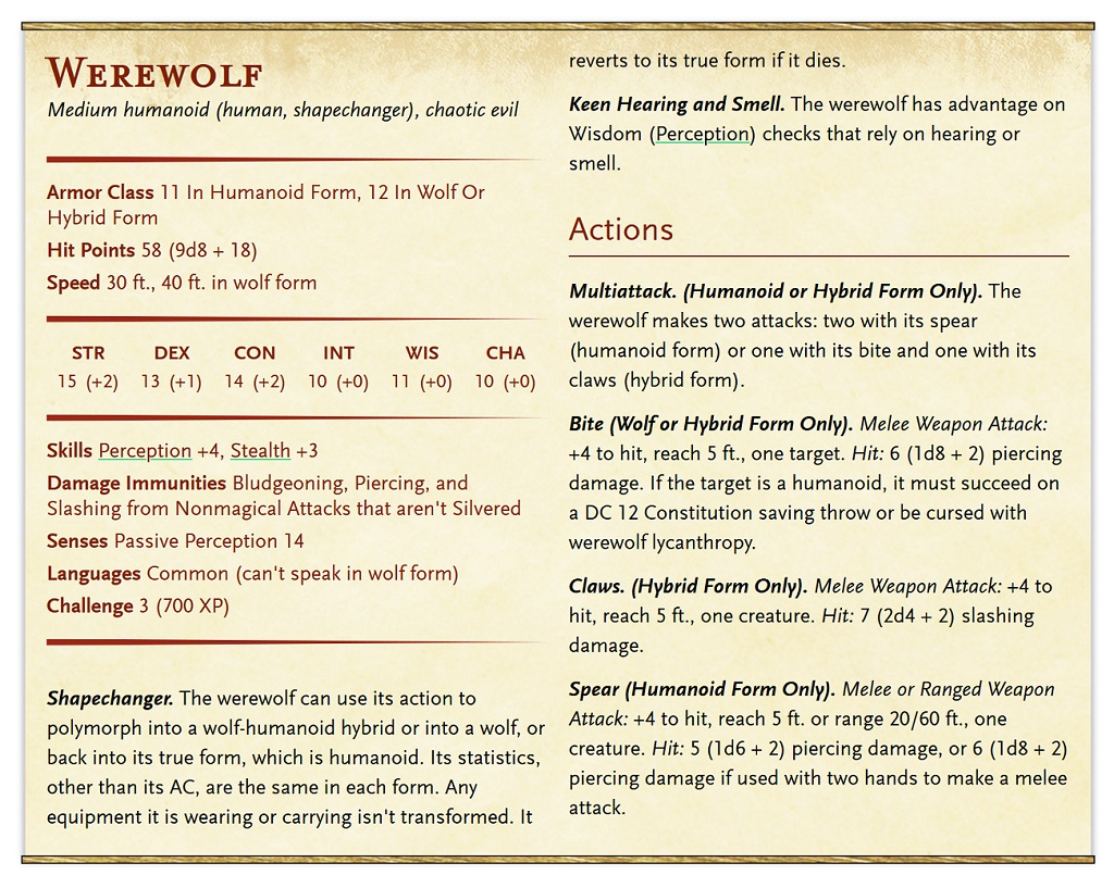 D D Werewolves Can T Hurt Each Other 5e Rules Oddities Bell Of Lost Souls